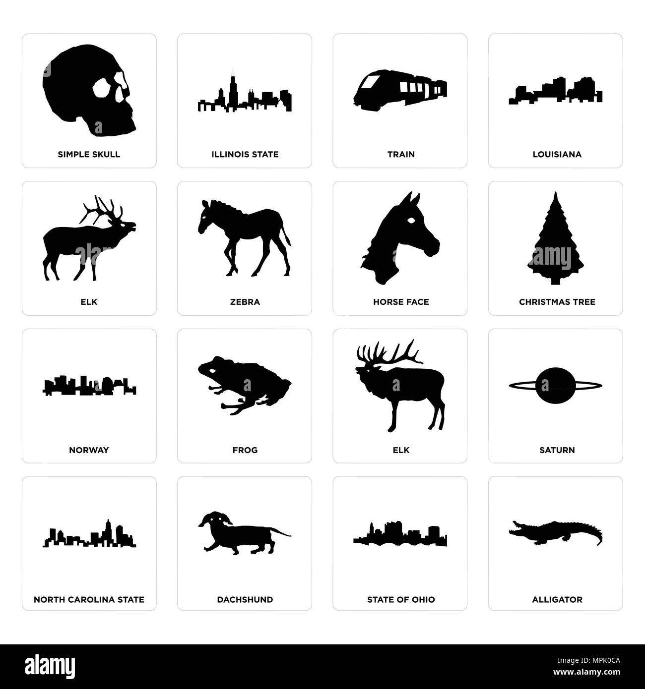 16 Einfache editierbare Ikonen wie Alligator, Bundesstaat Ohio ...