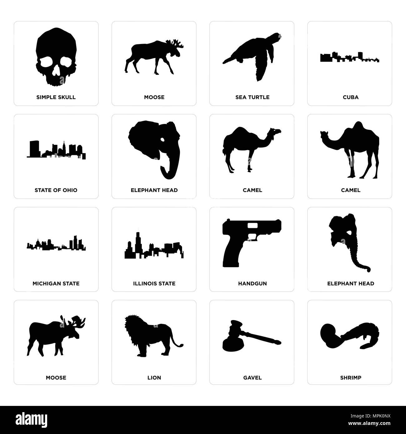 16 Einfache editierbare Symbole wie Garnelen, Hammer, Löwe, Elche ...
