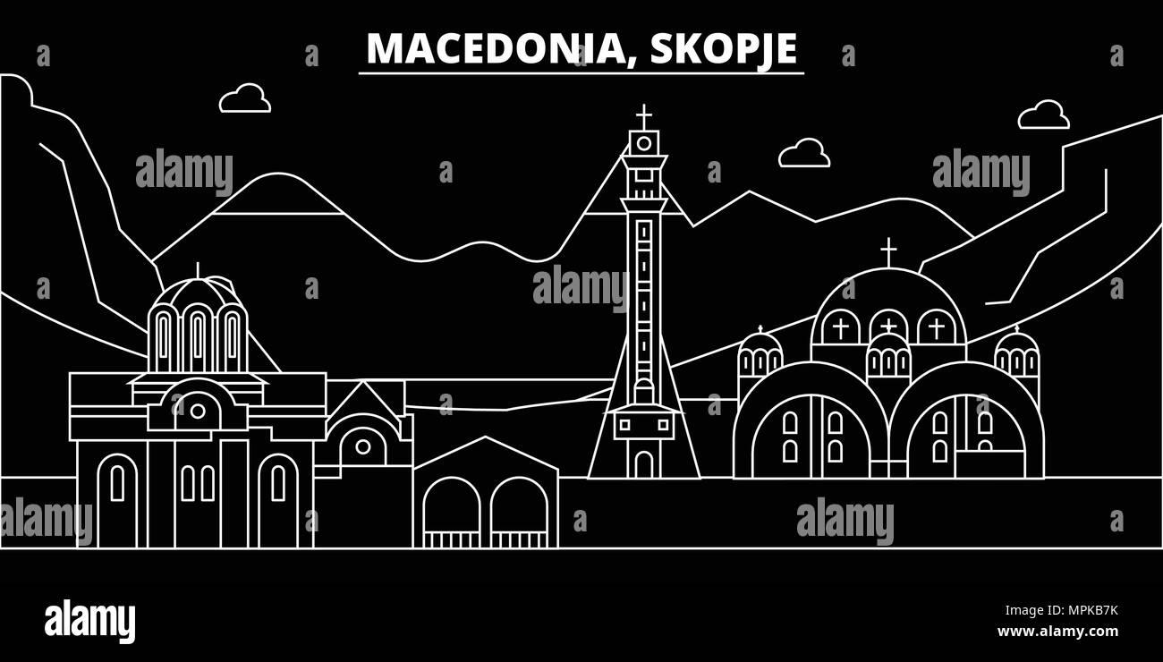 Frohe Weihnachten Mazedonisch.Skopje Silhouette Skyline Mazedonien Skopje Vektor Stadt