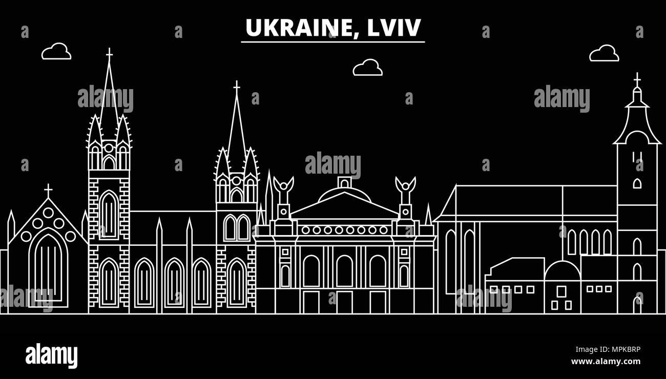 Frohe Weihnachten Ukrainisch.Lemberg Silhouette Skyline Ukraine Lviv Vektor Stadt