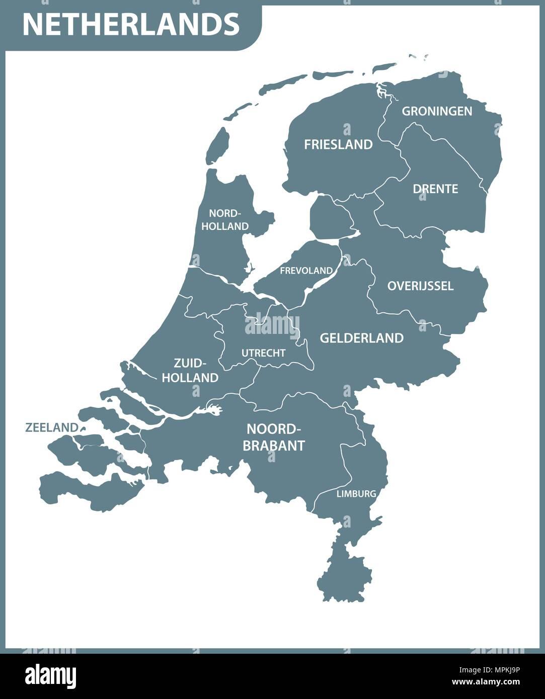Die Detaillierte Karte Der Niederlande Mit Regionen