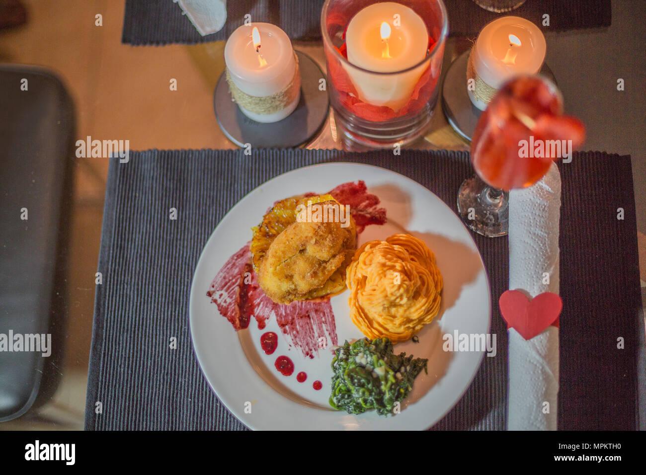 Valentinstag Abendessen Szene Und Liebe Essen Und Dekorative