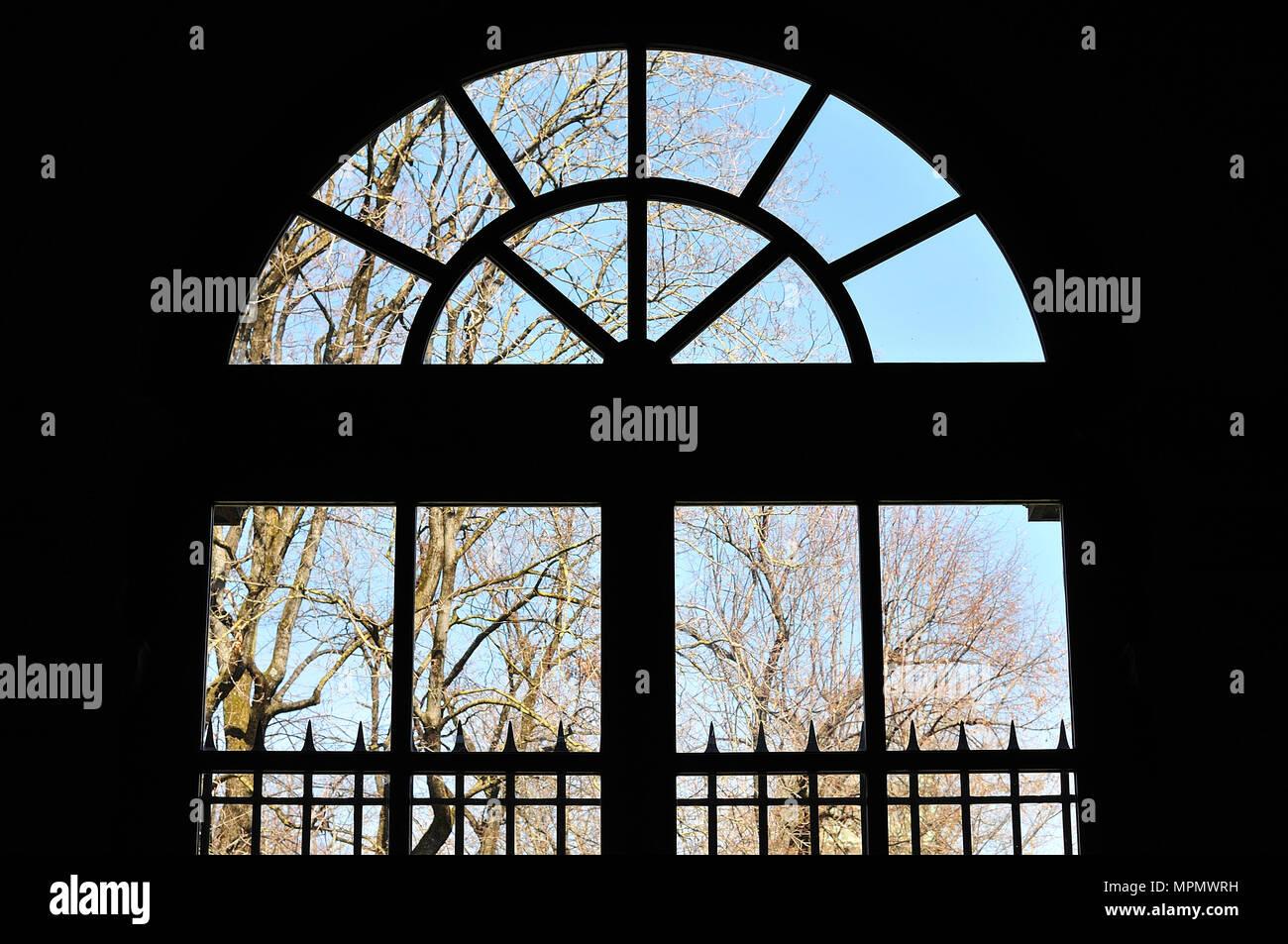 Blick Durch Die Glastur Mit Kahlen Baumen Und Metall Gelander Zum