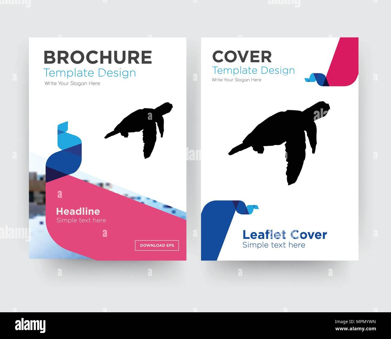 Sea Turtle Broschuren Flyer Design Template Mit Abstrakten Foto Hintergrund Minimalistischen Trend Business Corporate Roll Up Oder Jahresbericht