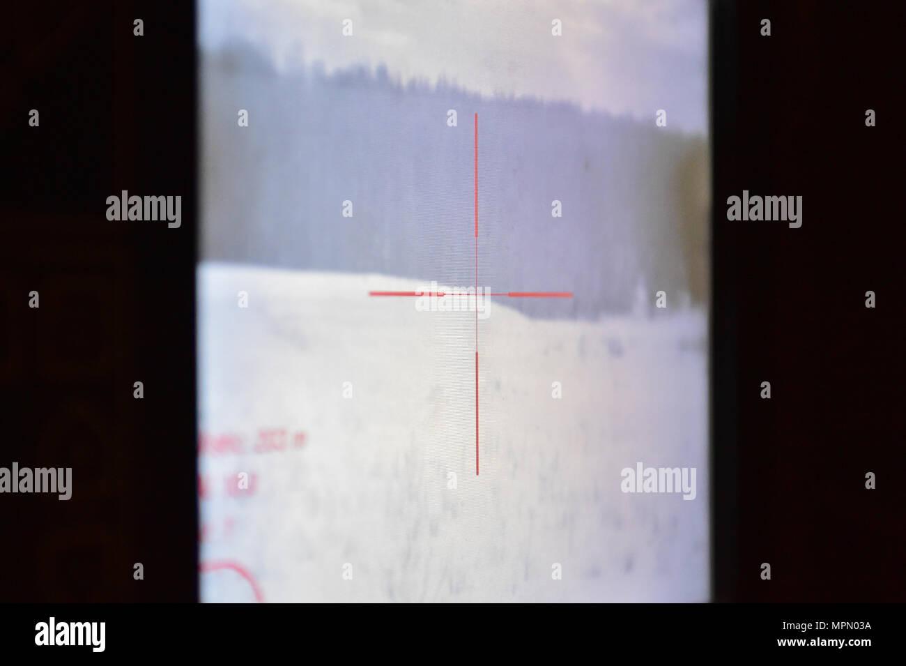 Das Zielfadenkreuz Auf Einem Bildschirm Als Armee Sgt Gesehen Mayra