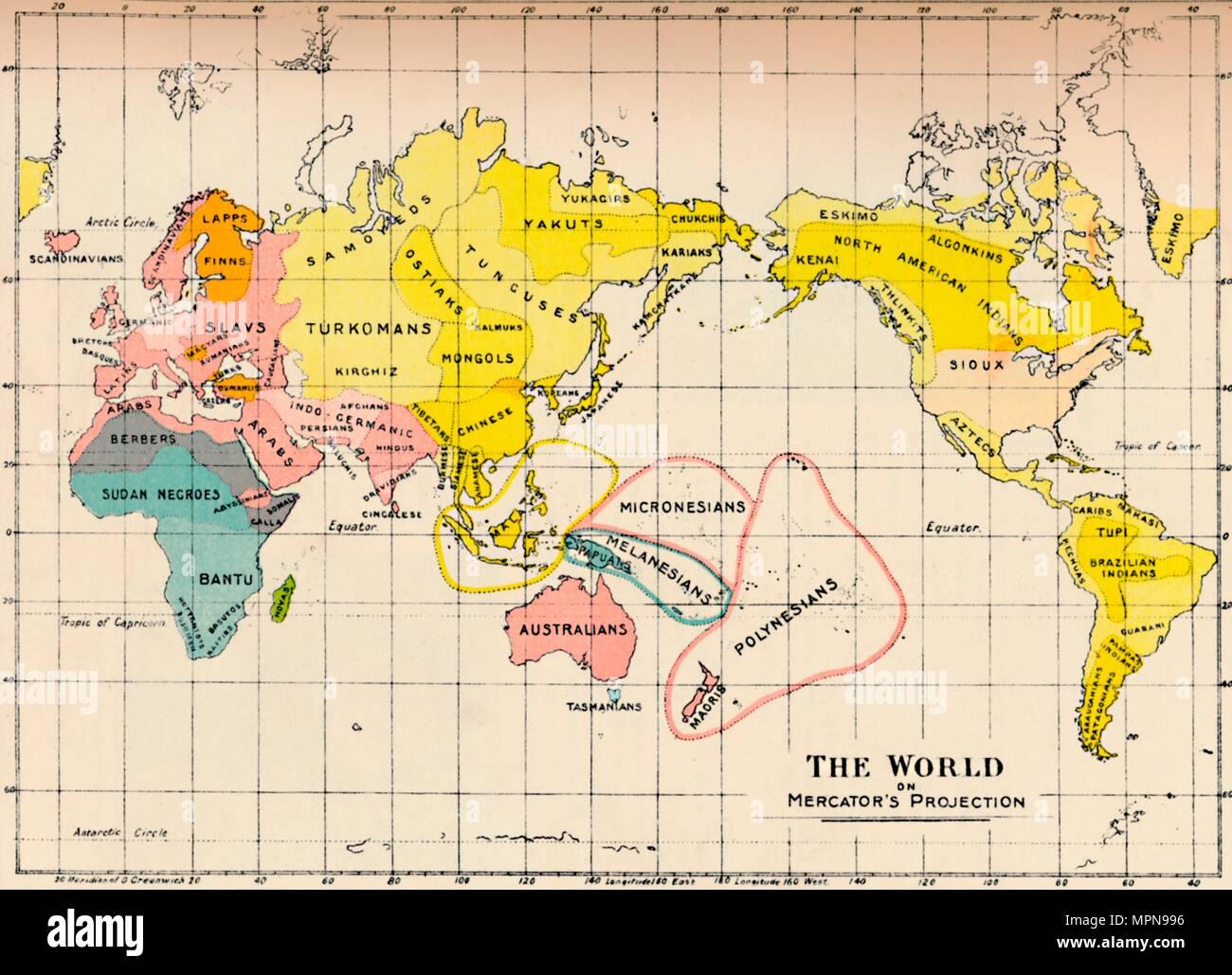 Karte Der Welt Auf Der Projektion Von Mercator 1902 Artist
