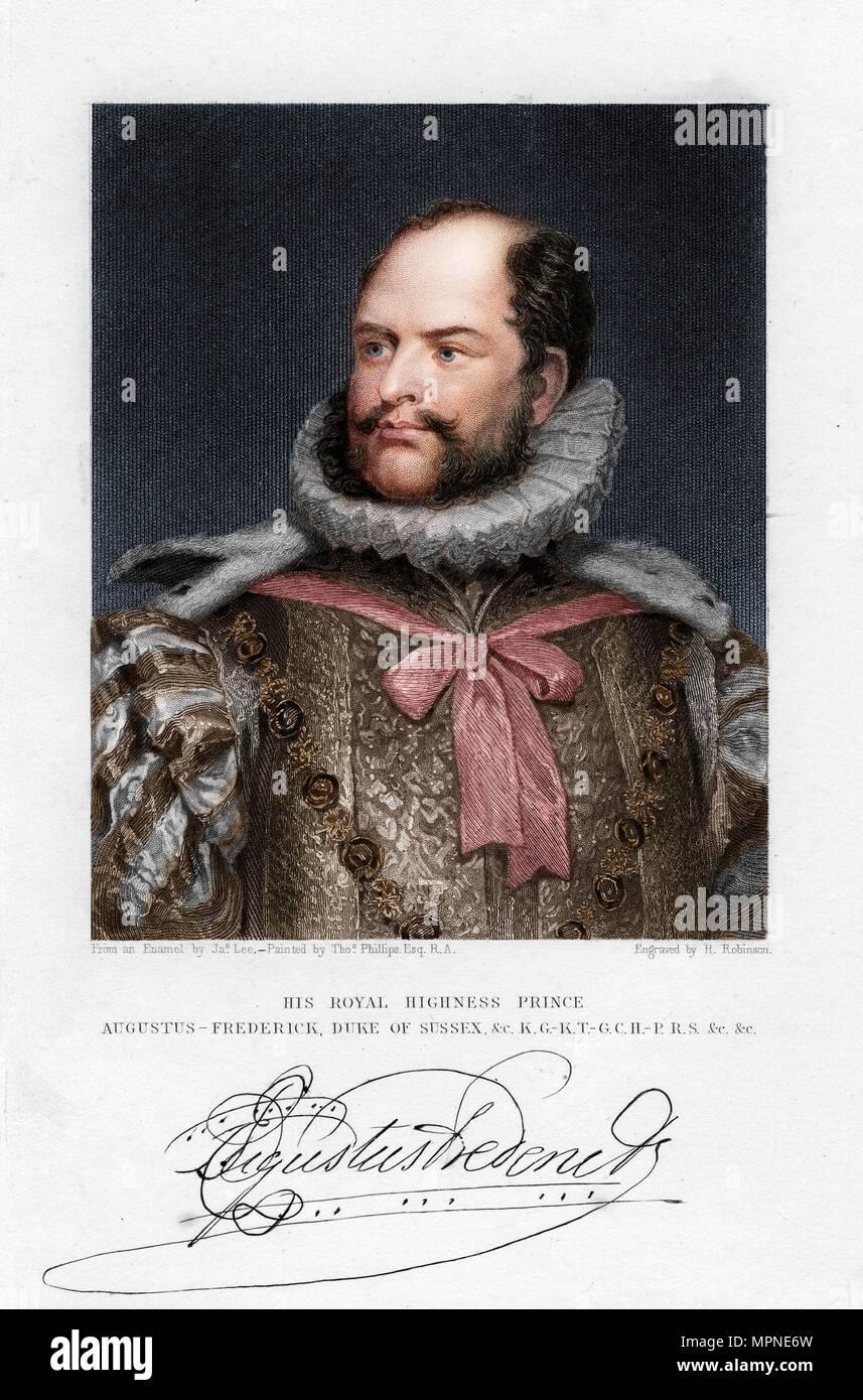 Prinz August Friedrich, Herzog von Sussex, 19. Artist: H Robinson. Stockbild