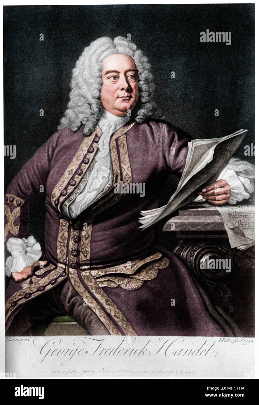 Georg Friedrich Händel, in Deutschland geborene britische Barockkomponisten, 1749. Artist: Johannes Faber der Jüngere. Stockbild