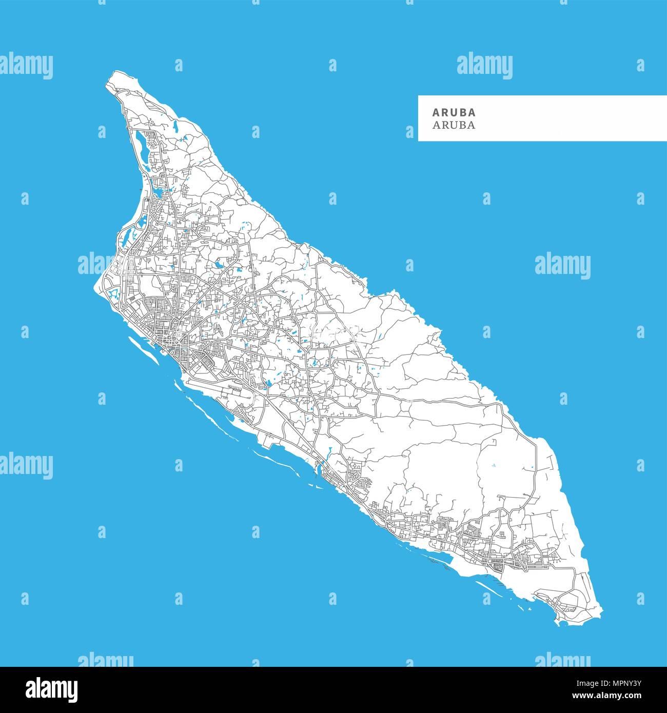 Karte Der Insel Aruba Aruba Enthalt Geographie Skizziert Fur