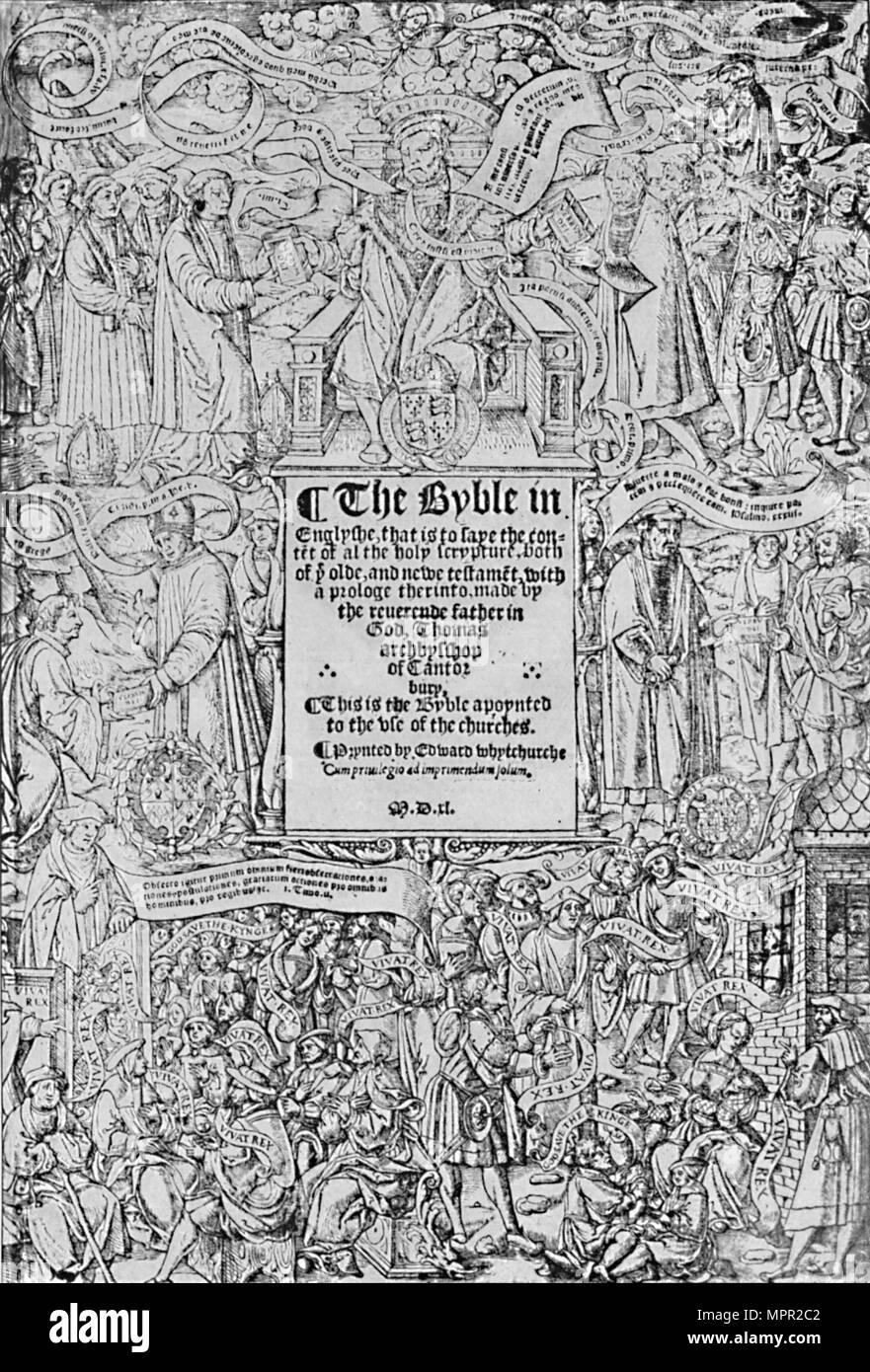 """""""Title-Page der Große Bibel, 1540, (1903). Artist: Master von Francois de Rohan. Stockbild"""