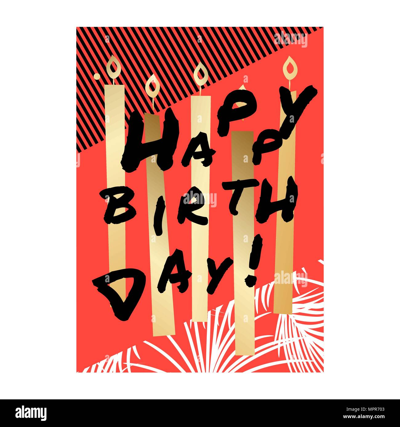Happy Birthday Card Design Mit Gold Kerzen