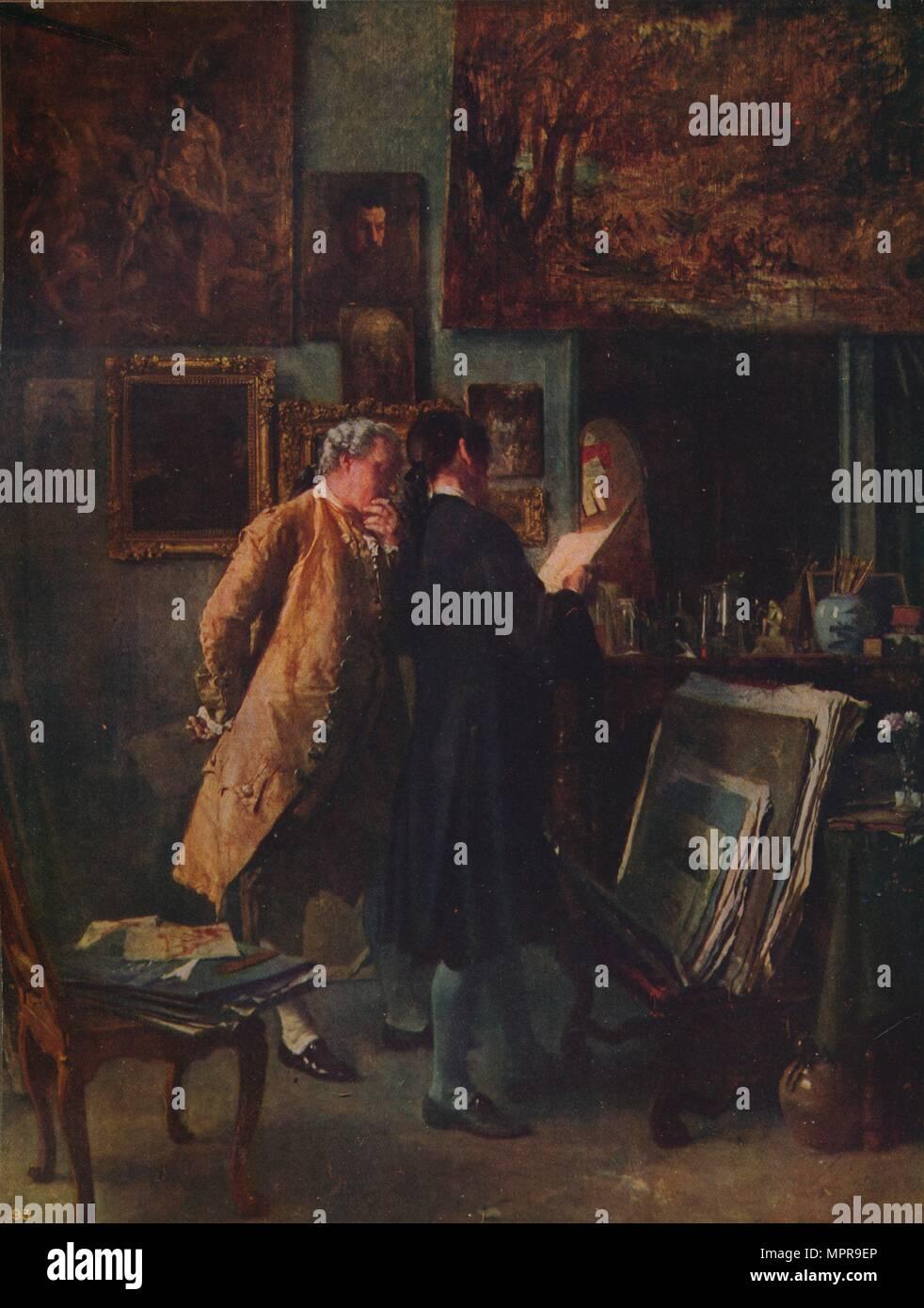 """""""Die Print Collector', c 1850, c 1915). Künstler: Jean Louis Ernest Meissonier. Stockbild"""