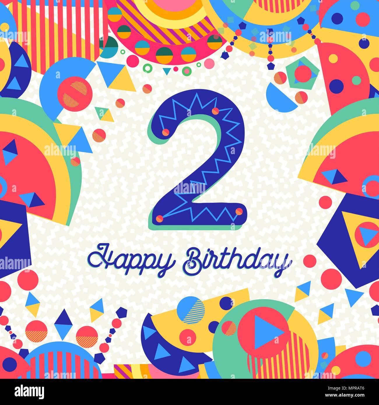 Alles Gute zum Geburtstag 2 jahr spaß Design mit Nummer ...