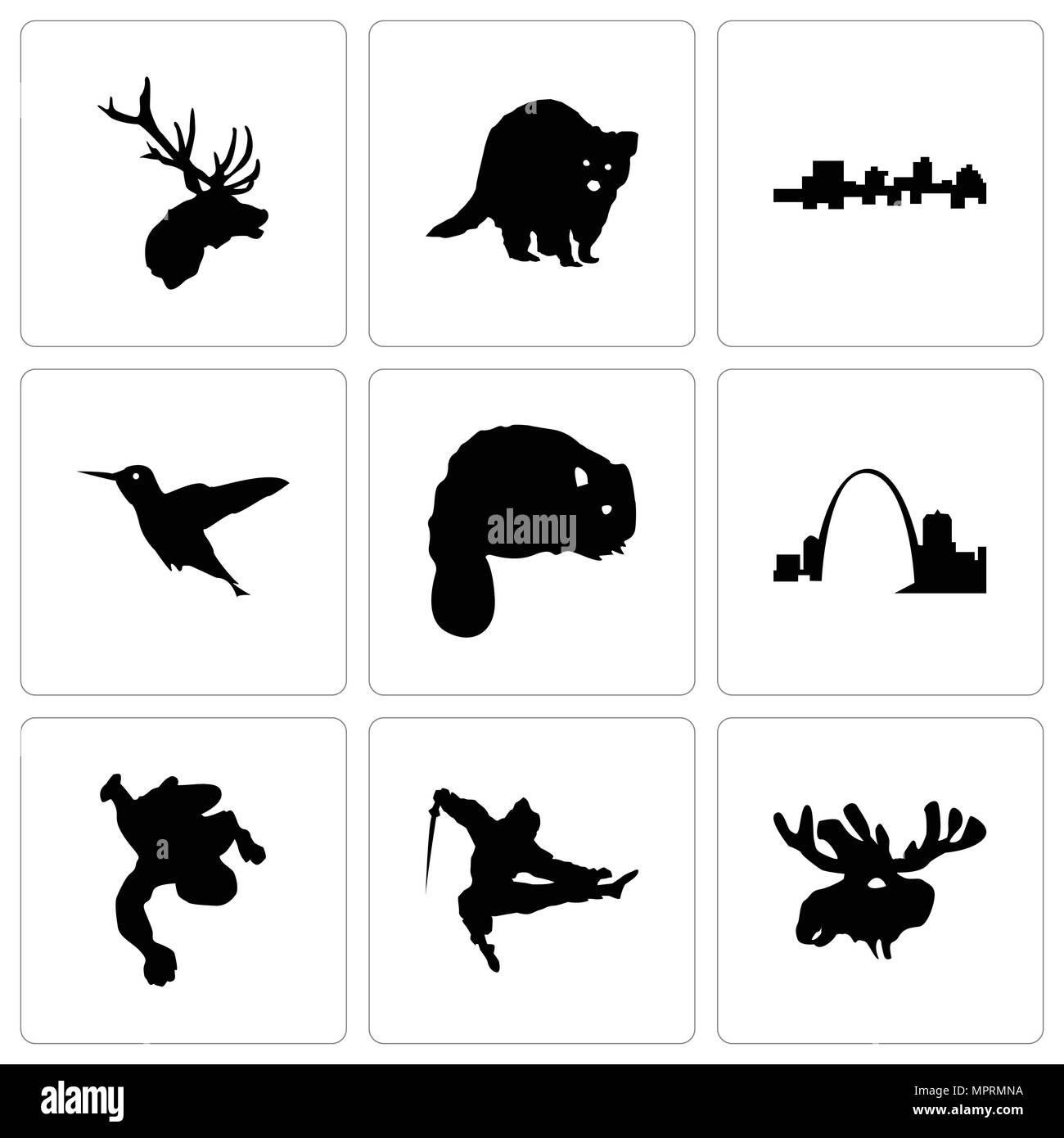 Satz von 9 einfache editierbare Ikonen wie Elch Kopf, Ninja, Kreide ...