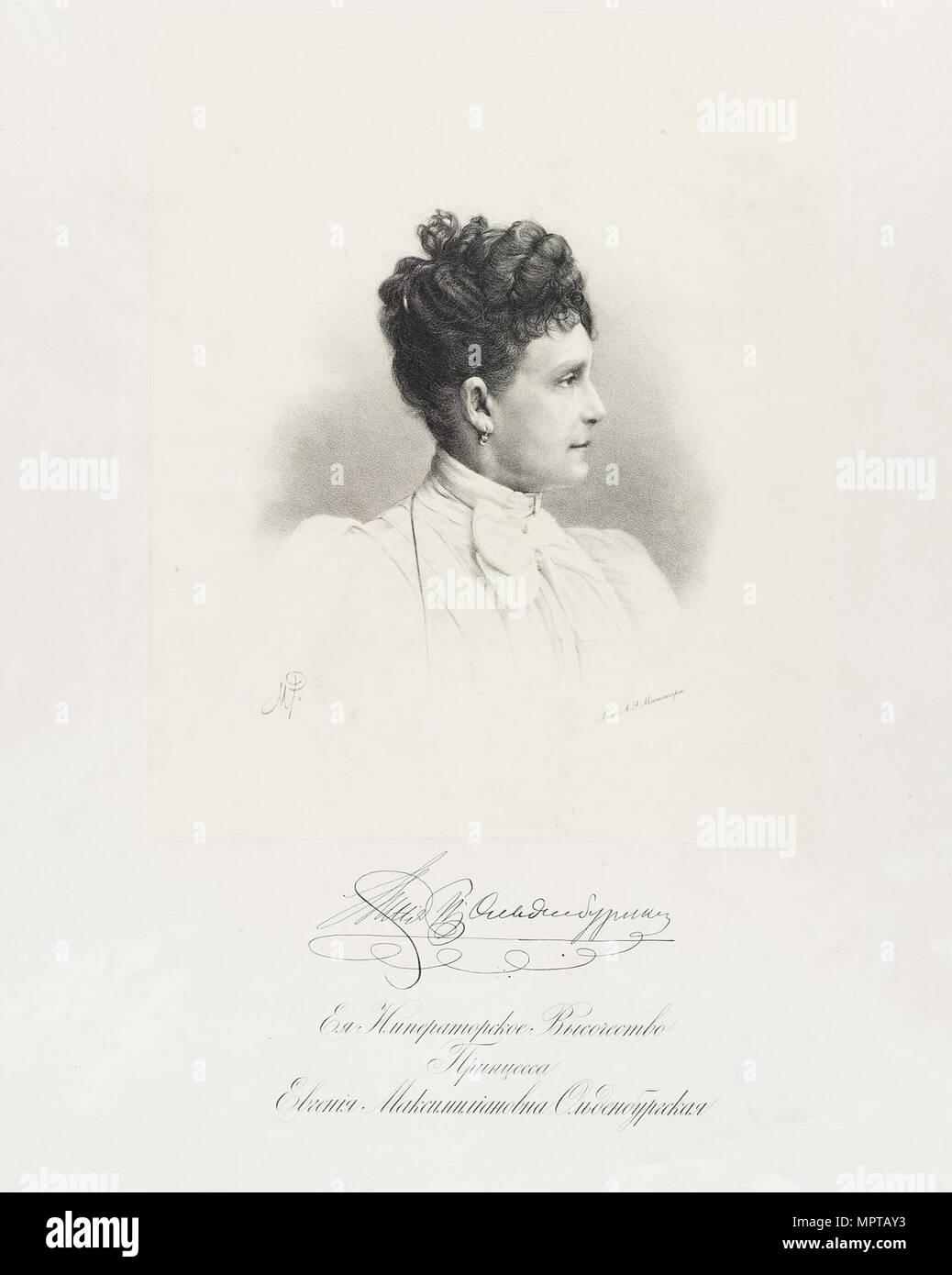 Porträt der Prinzessin Eugenia Maximilianovna von Leuchtenberg (1845-1925). Stockbild