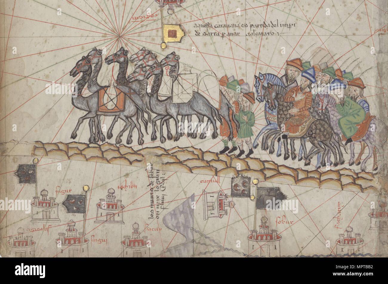 Wohnwagen auf der Seidenstraße. Aus dem Katalanischen Atlas Detail. Stockfoto