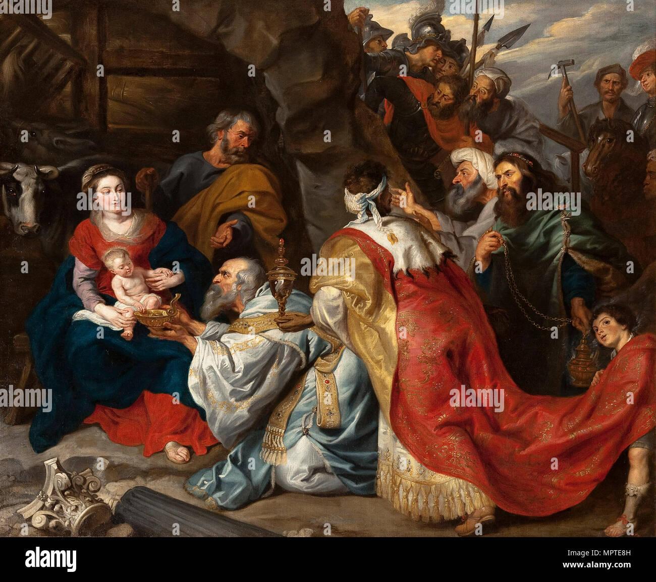 Die Anbetung der Könige, C. 1620. Stockbild