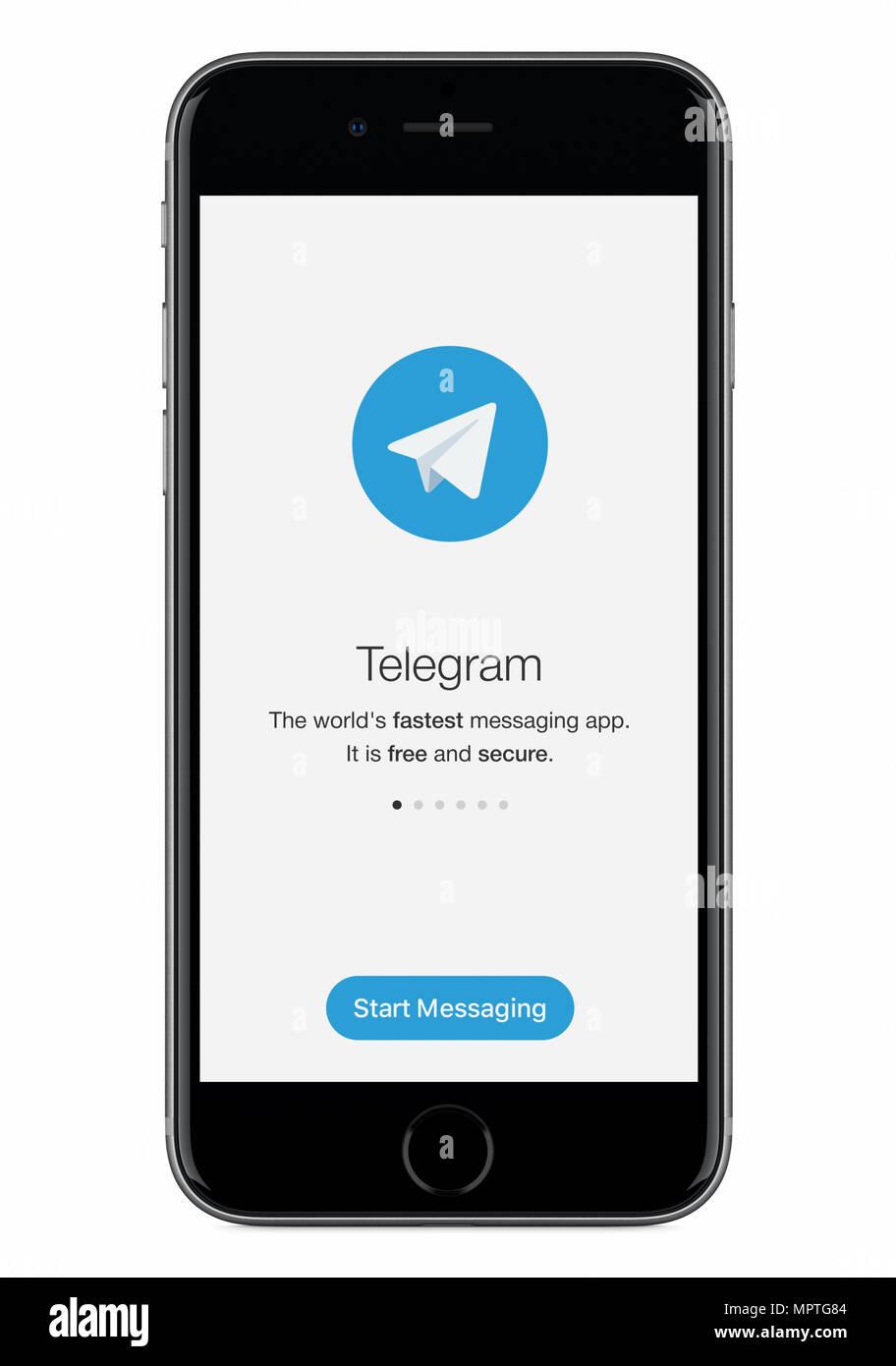 Telegramm messenger Startbildschirm mit dem Telegramm Logo auf ...