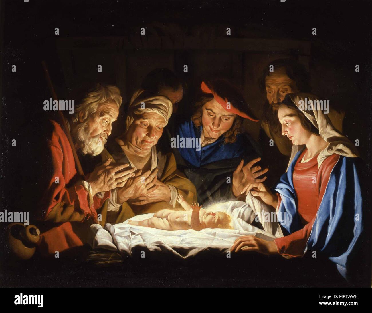 Die Verehrung des Christus Kind. Stockbild