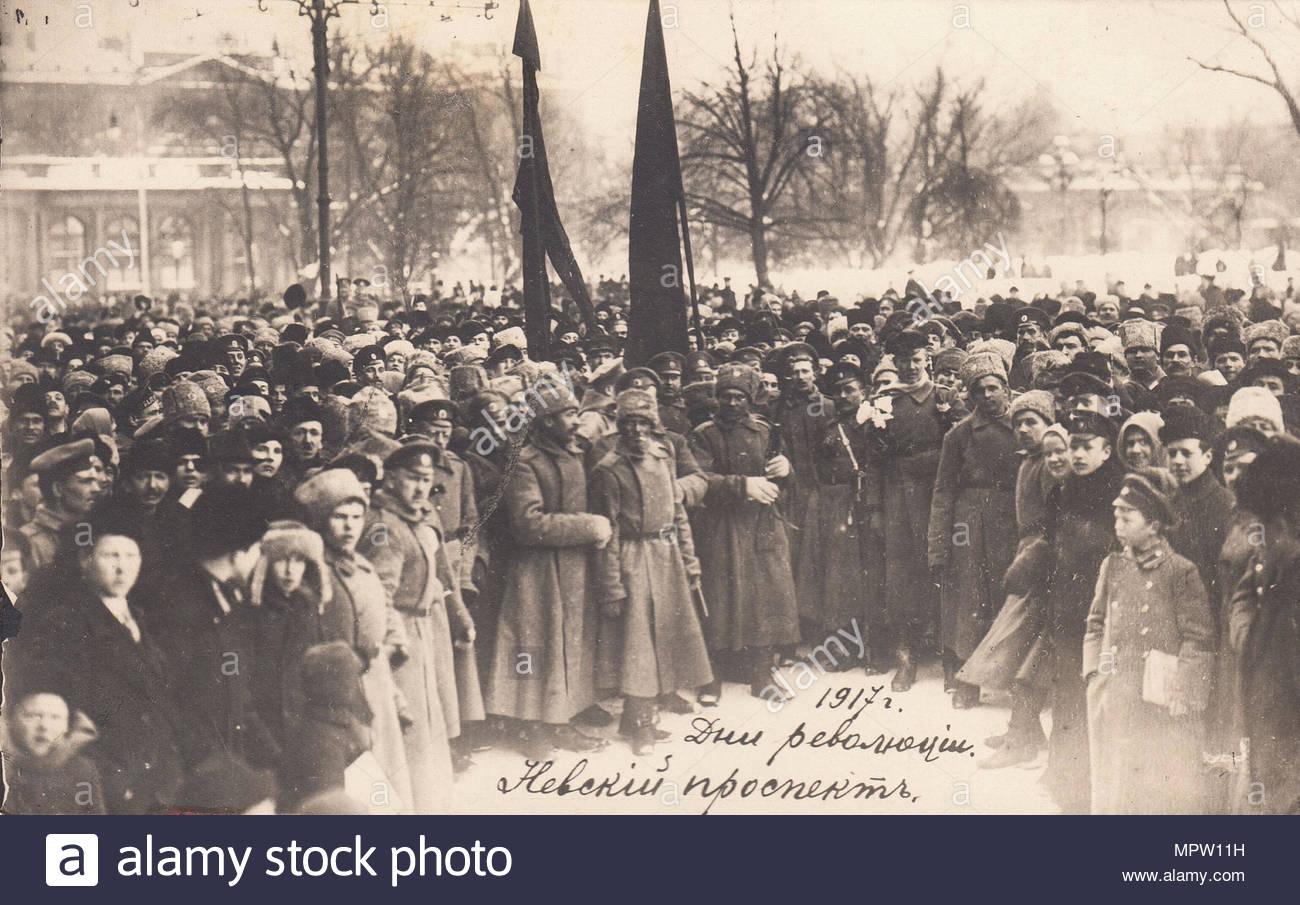 Die Tage der Revolution. Nevsky Prospekt, 1917. Stockbild