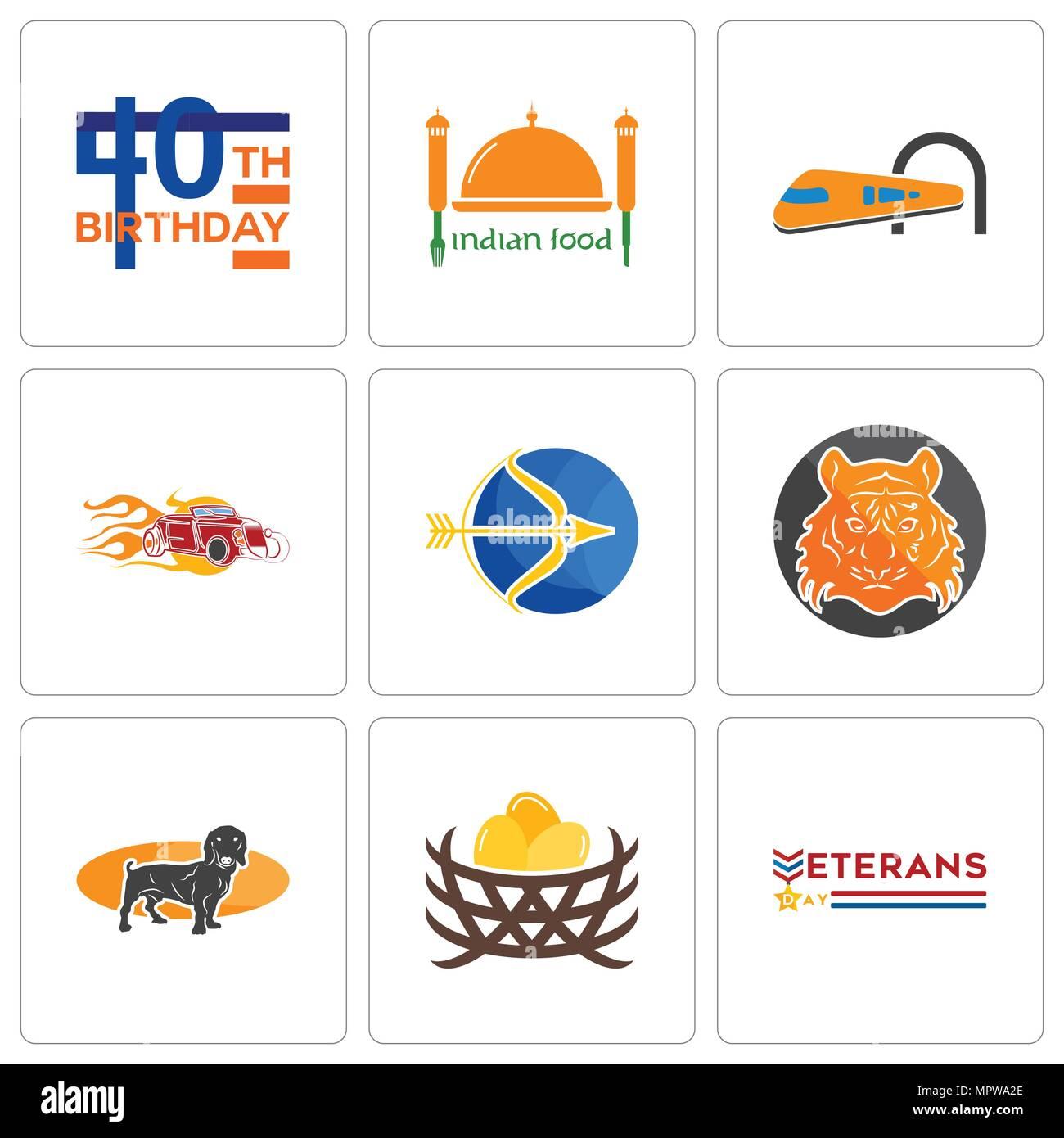 Satz Von 9 Einfache Editierbare Ikonen Wie Veterans Day Vogelnest