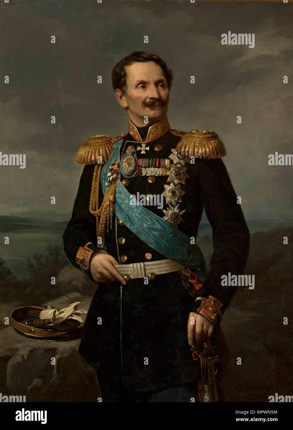 Portrait der Feldmarschall Graf Friedrich Wilhelm von Berg (1794-1874). Stockbild