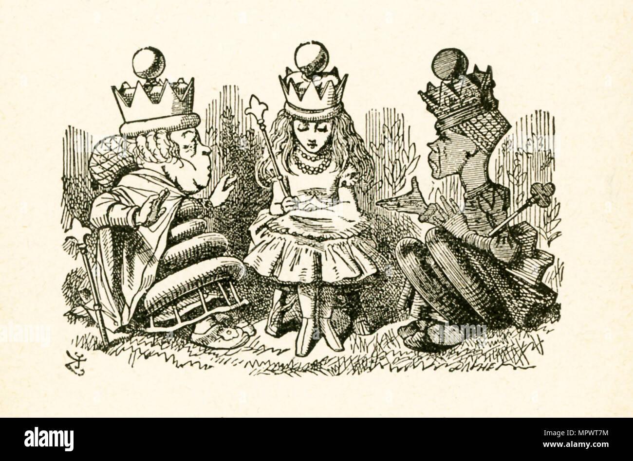 Diese Abbildung Von Alice Im Gespräch Mit Den Zwei Königinnen Die