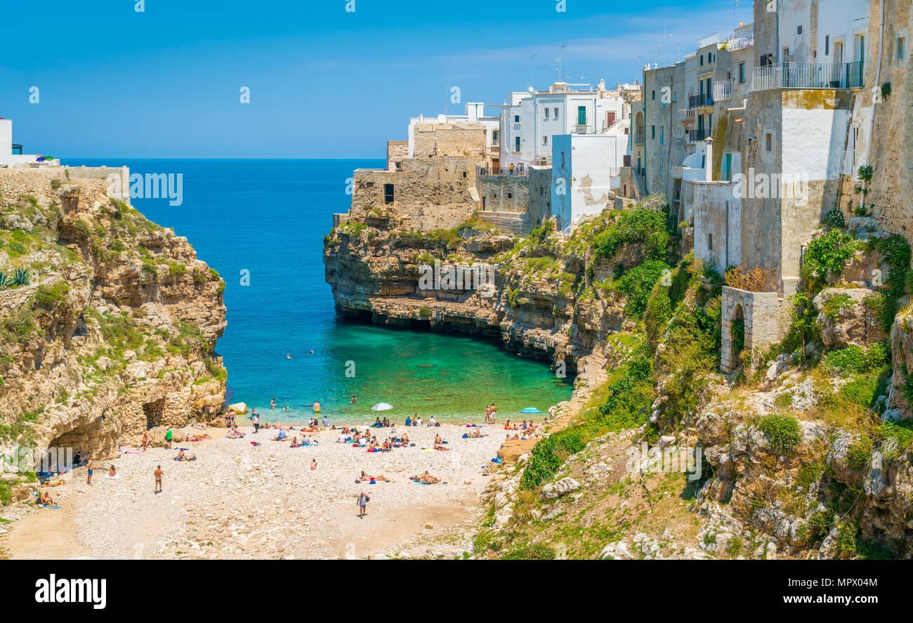 Malerische Anblick in Polignano a Mare, in der Provinz Bari, Apulien (Puglia), Süditalien. Stockbild