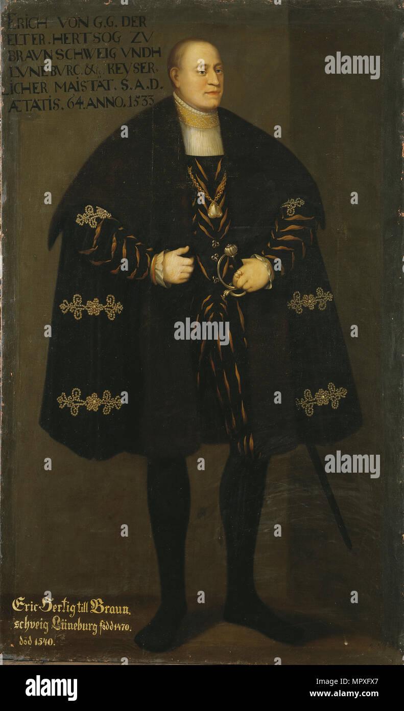 Porträt von Herzog Erich I. von Braunschweig-Lüneburg (1470-1540), Prinz von Calenberg-Göttingen, 1667. Stockfoto