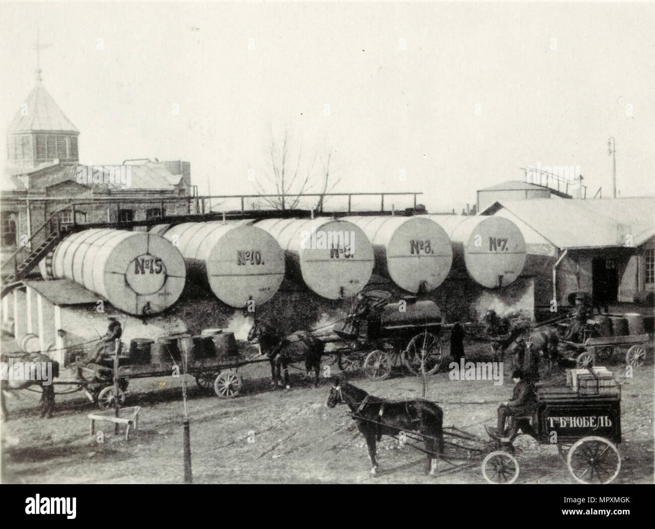 Der Nobelpreis Brüder Petroleum Company in Baku, 1890. Stockbild