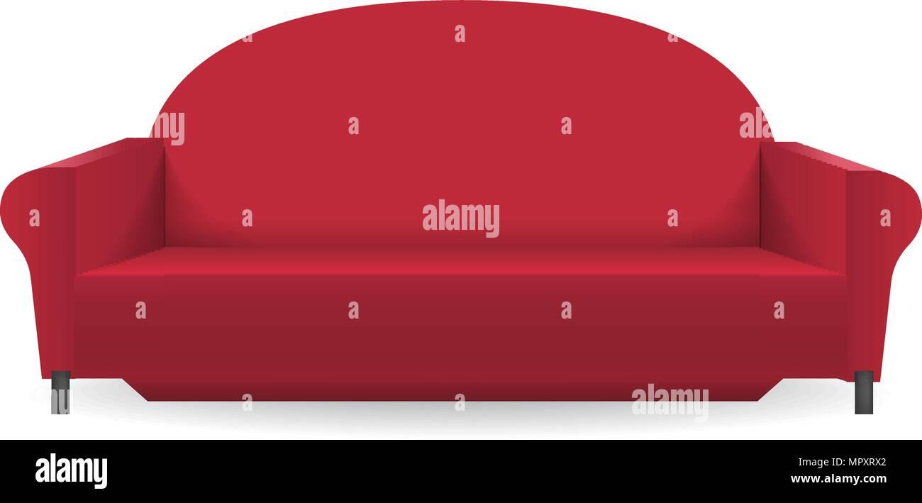 Rotes Sofa Mockup Realistischen Stil Vektor Abbildung Bild
