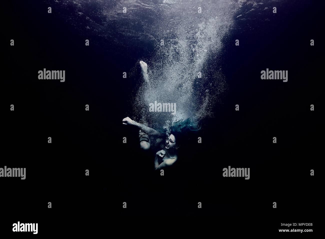 Unterwasser Krieger Stockbild