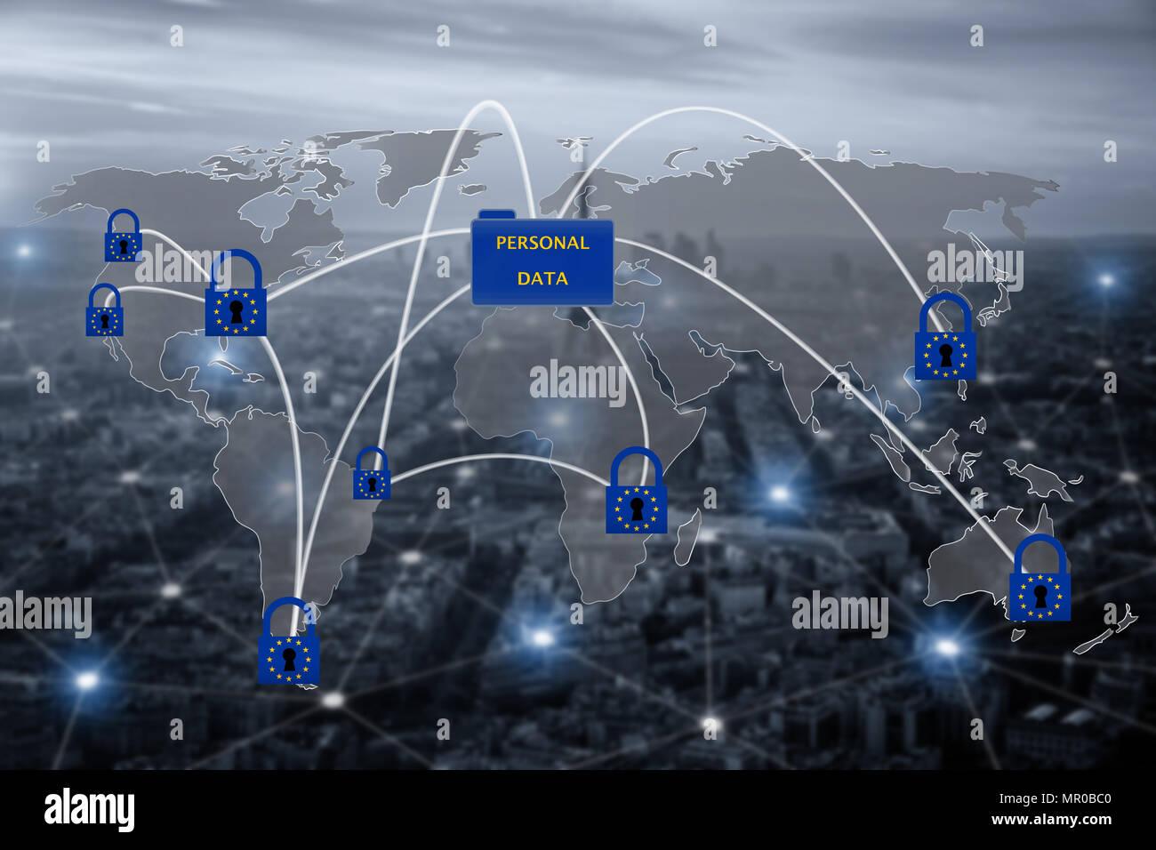 Vorhängeschloss über EU-Karte, das Symbol der EU allgemeine Datenschutzverordnung oder Bipr. Die Datenschutzgesetze in ganz Europa zu harmonisieren. Stockbild