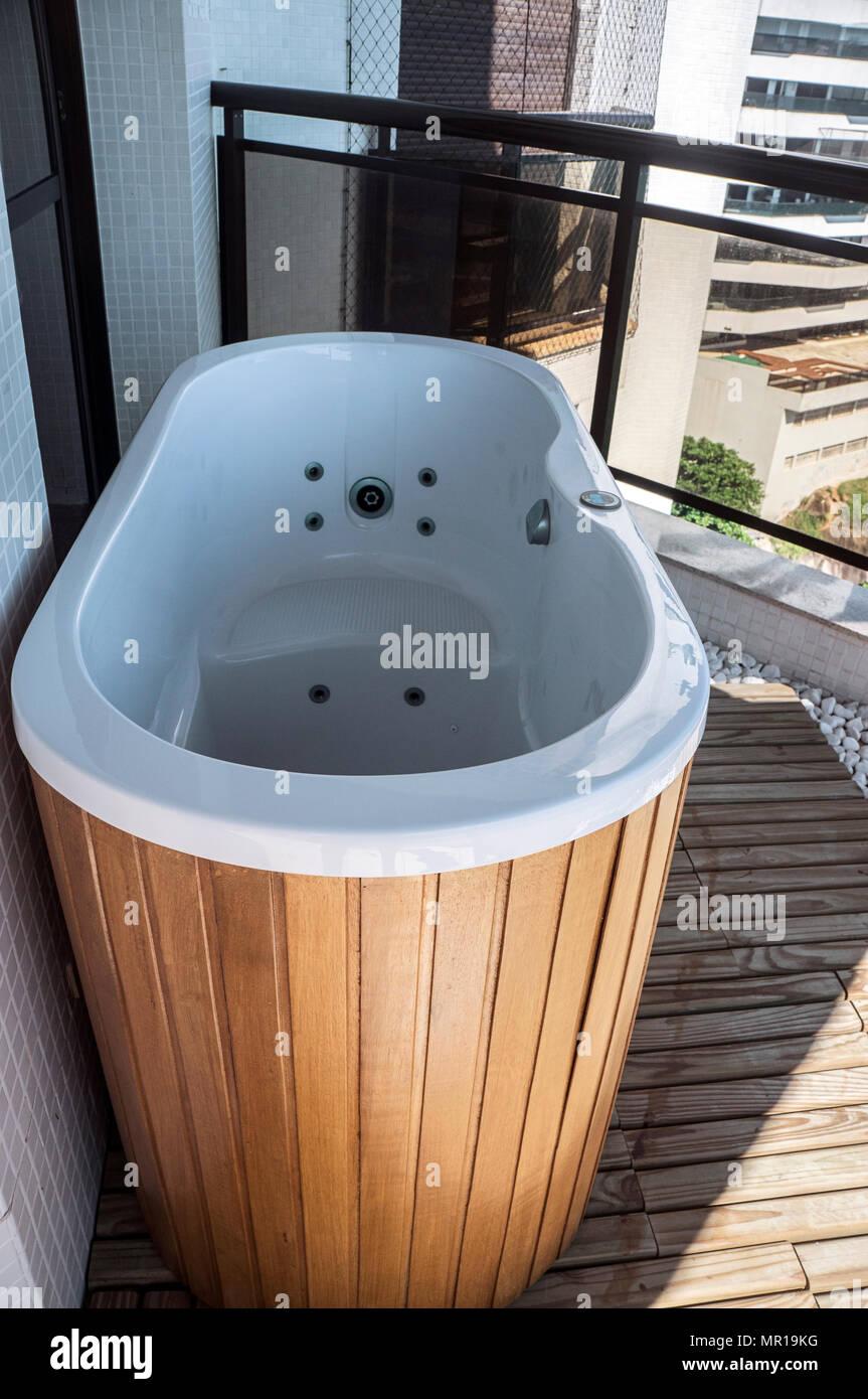 Holz Whirlpool Gesundheit Luxus Balkon Entspannung Niemand