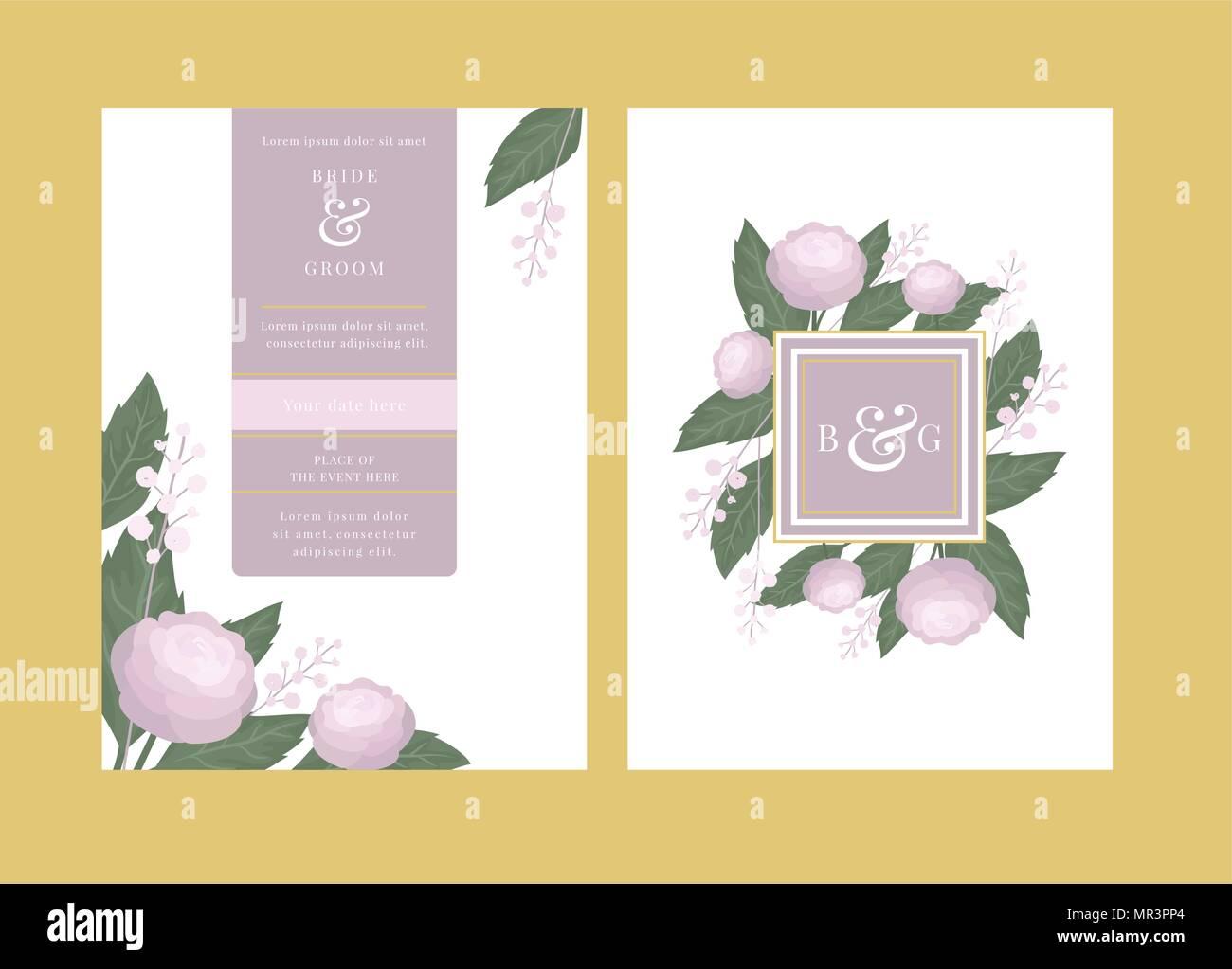 Blumen Hochzeit Einladung Mit Kamelie Blumen Vektor Karte Vorlage