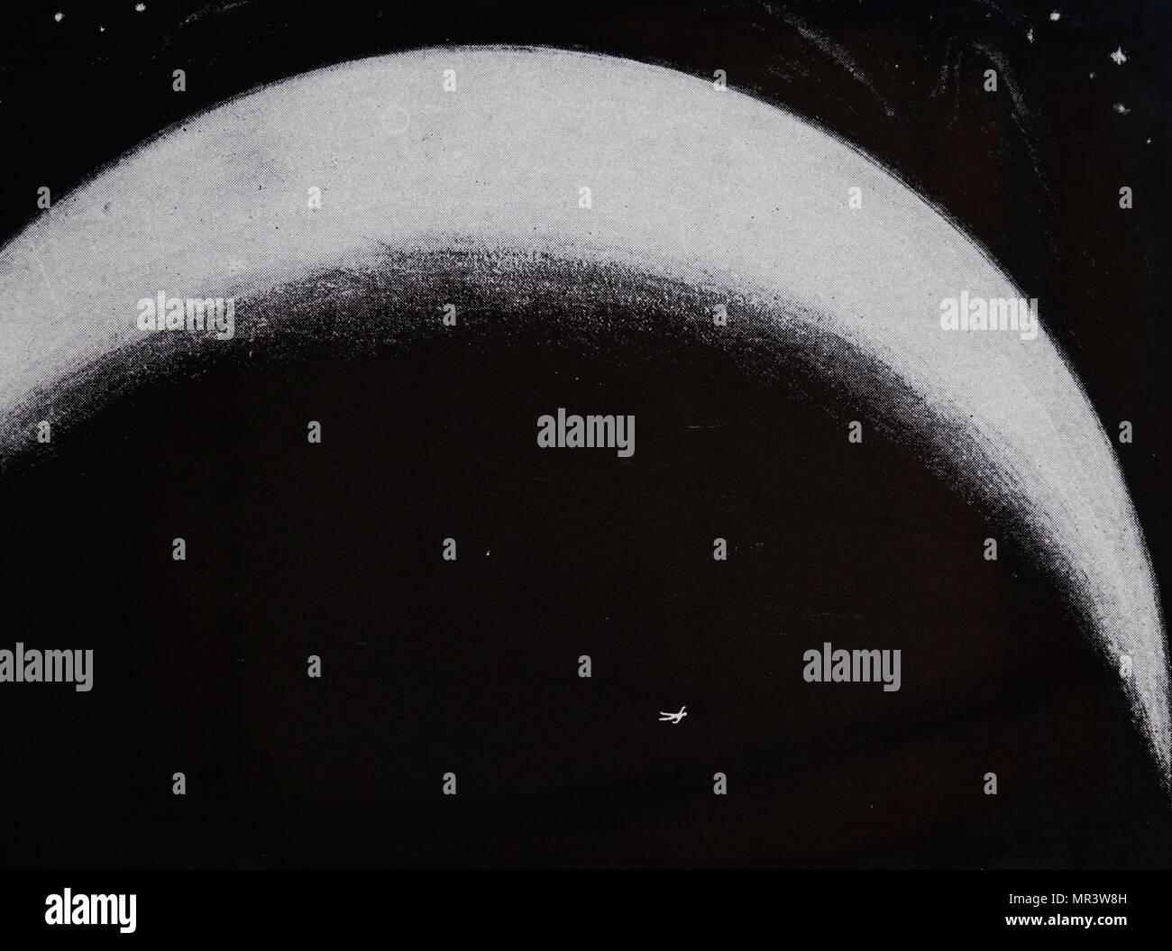 """Beleuchtete menschliche Umrisse wie vom Mars gesehen. Idee für die Kommunikation mit Bewohner des Mars durch die Beleuchtung eine große Fläche (mehrere Quadratkilometer) Schnee die Form eines Mannes mit Bogenlampen. Der Artikel setzt voraus, dass der Mars mit intelligenten Wesen bewohnt ist, weil der """"Kanäle"""": Und da wir sehen Diemos und Phobos durch unsere Teleskope auf dem Mars Astronomen sehen würden die riesigen Abbildung wie gezeigt. Vom 19. Jahrhundert Stockbild"""