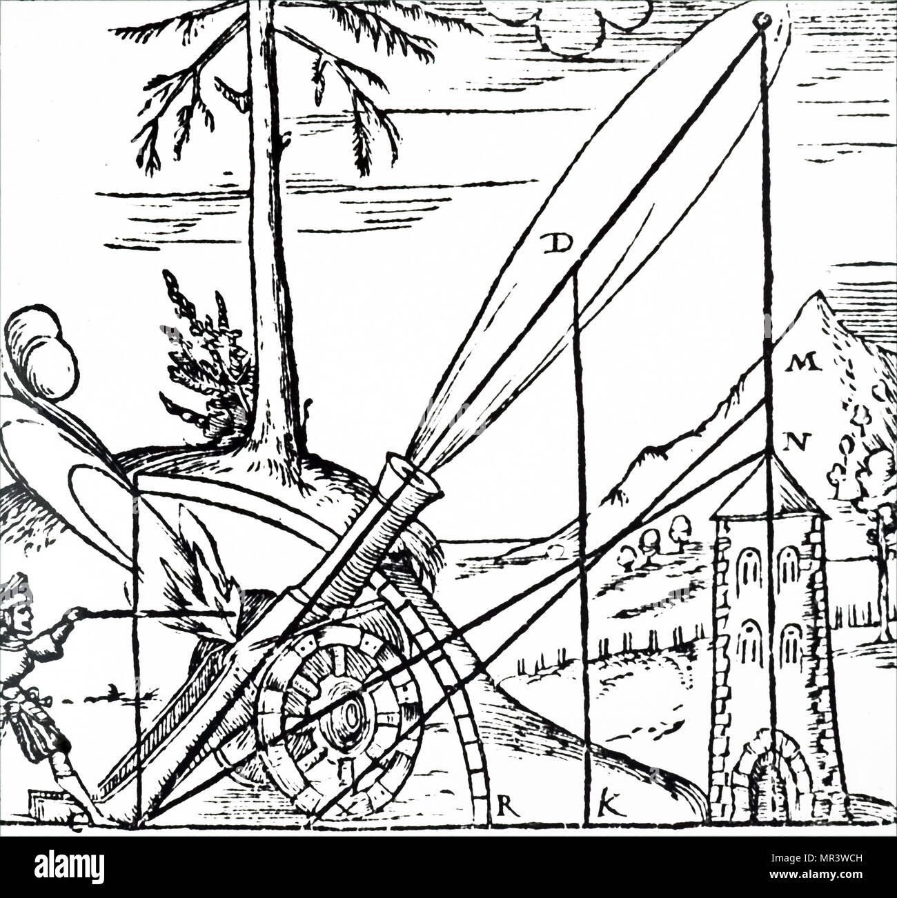 Darstellung der aristotelischen Konzept der Weg des Geschosses. Da er glaubte, kein Körper mehr als eine Bewegung in einer Zeit verpflichten konnten, der Weg hatte von zwei getrennte Bewegungen in einer geraden Linie zu bestehen. Vom 16. Jahrhundert Stockbild