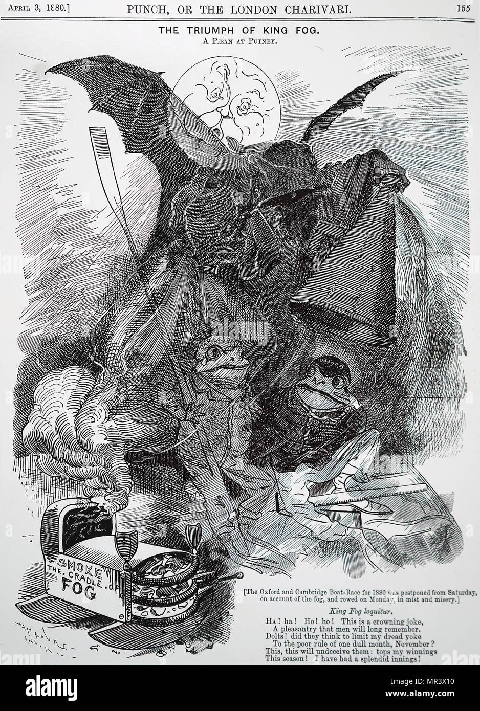 """Abbildung: mit dem Titel """"Die Boat Race Opfer der Londoner Nebel'. Die Karikatur zeigt ein Gespenst der Nebel erstickenden zwei Frösche, wie Sie konkurrieren, sind in der Oxford und Cambridge Boat-Race. Illustriert von John Tenniel (1820-1914) ein englischer Illustrator Grafik Humorist und politischen Karikaturisten. Er wurde für seine künstlerischen Leistungen im Jahr 1893 zum Ritter geschlagen. Vom 19. Jahrhundert Stockbild"""