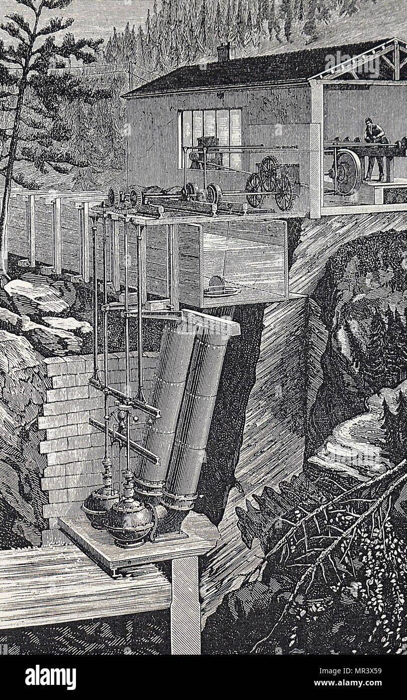 Kupferstich mit der Darstellung der Turbinen auf dem Portrush Eisenbahn, Irland. Dies war die erste Eisenbahn durch Wasserkraft betrieben werden. Die elektrische Arbeit wurde unter der Leitung von Sir Charles Siemens durchgeführt. Holz- fed Waschen Wasser, fast senkrechte Rohre und durch die alcott Turbinen, die in der sphärischen Bügeleisen Gehäuse enthalten sind die Entlastung in den Stream unten, um Abfälle zu entladen. Um die Zapfwelle zu den Siemens Generator ist der Schuppen ist über die beiden vertikalen Schächten und Kegelradgetriebe. Vom 19. Jahrhundert Stockbild