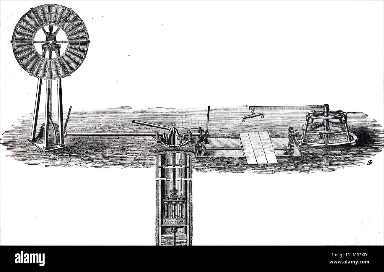 Kupferstich mit der Darstellung eines einfachen wind Pumpe an eine gut ausgestattet. Vom 19. Jahrhundert Stockbild