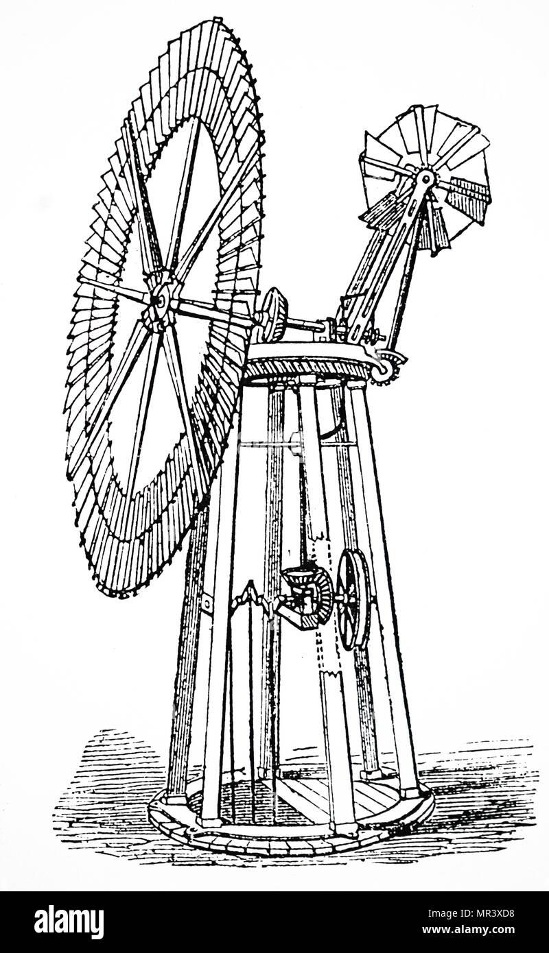 Kupferstich mit der Darstellung eines Wind Pumpe mit Selbstregelnden ringförmige Segeln. Für das Anheben von Wasser aus Brunnen benutzt. Vom 19. Jahrhundert Stockbild