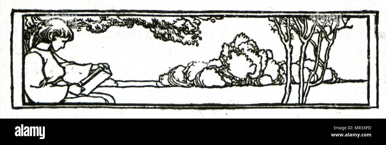 Abbildung: Darstellung einer jungen, sein Buch zu lesen. Vom 20. Jahrhundert Stockbild