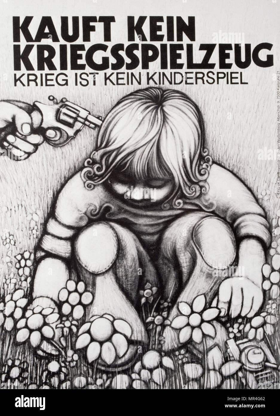 Deutsche anti-Krieg und Frieden Plakat während des Kalten Krieges 1985 Stockbild