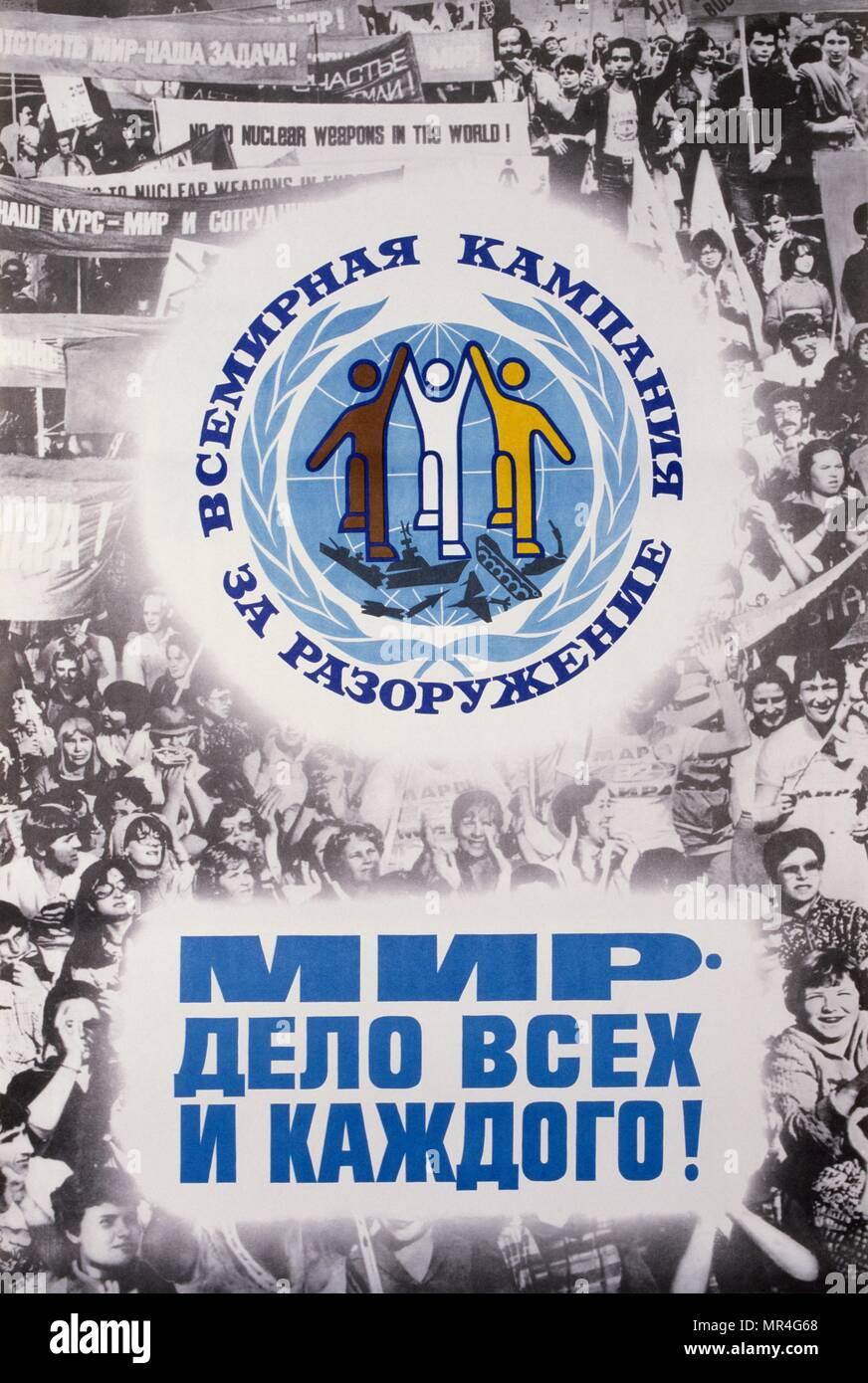 Sowjetische russische Anti-Terror-Krieg und Frieden Plakat während des Kalten Krieges 1983 Stockbild