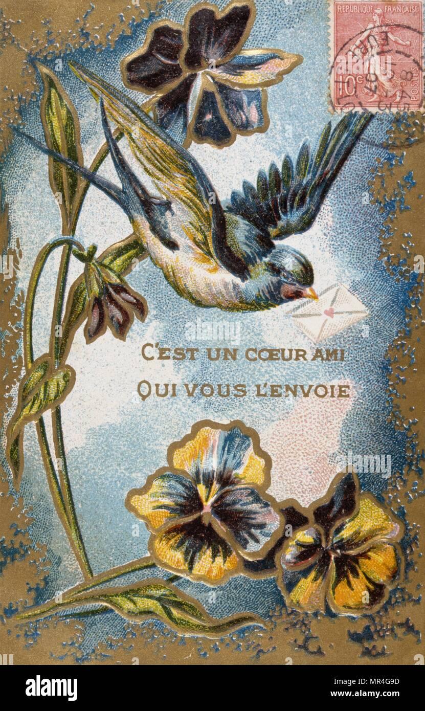 Französische Postkarte mit floralen Elementen 1900 Stockbild