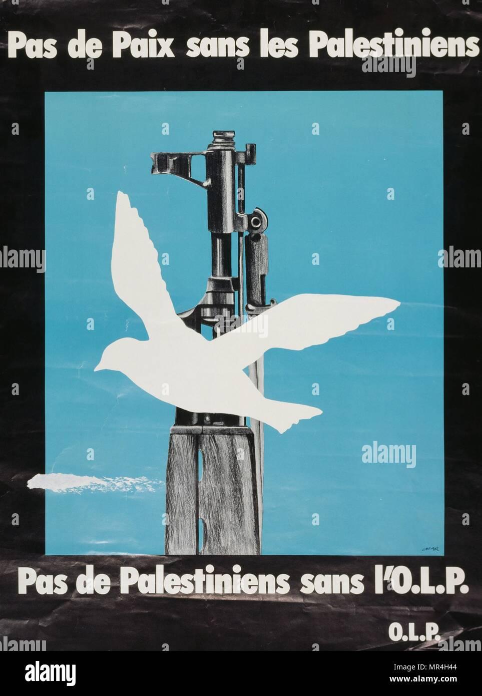 Organisation für die Befreiung Palästinas (PLO) Propagandaplakat gegen den Friedensprozess mit Israel 1983 Stockbild