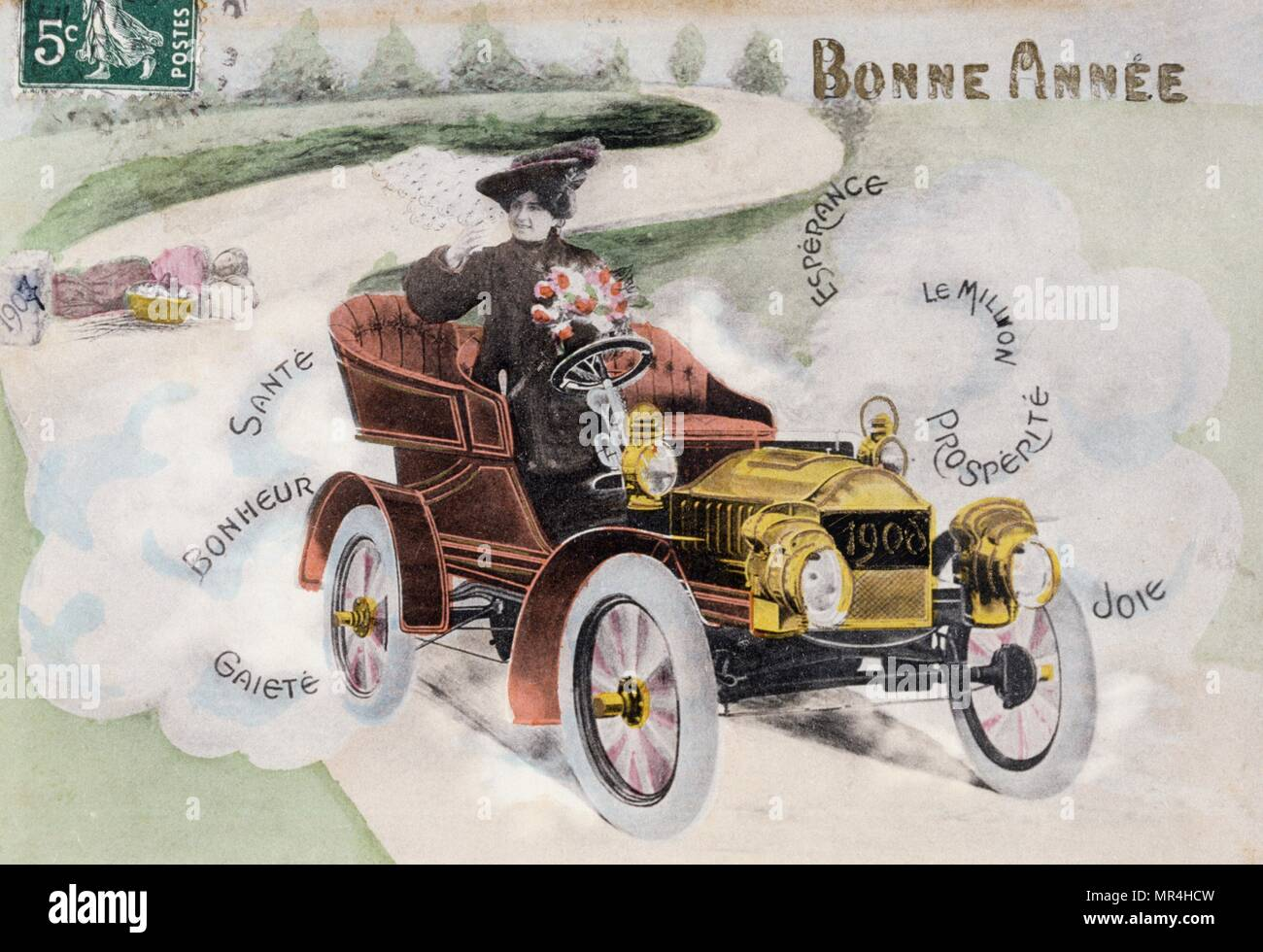 Französische neues Jahr Postkarte zeigt eine Frau, die ein Oldtimer 1908 Stockbild