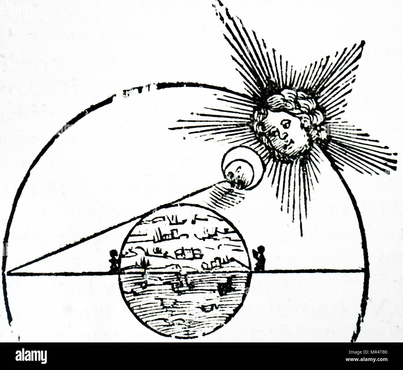 Diagramm zeigt eine Sonnenfinsternis. Eine Sonnenfinsternis (von der Erde aus gesehen) ist eine Art von Eclipse, die entsteht, wenn der Mond zwischen Sonne und Erde, und wenn der Mond ganz oder teilweise blockiert ('occults') der Sun vom 16. Stockbild