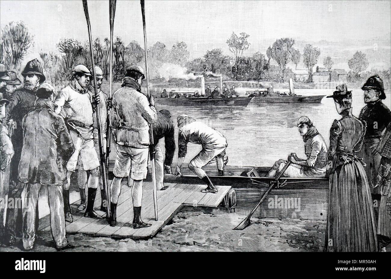 Abbildung: Darstellung einer Szene aus Cambridge und Oxford University Boat Race. Vom 19. Jahrhundert Stockbild