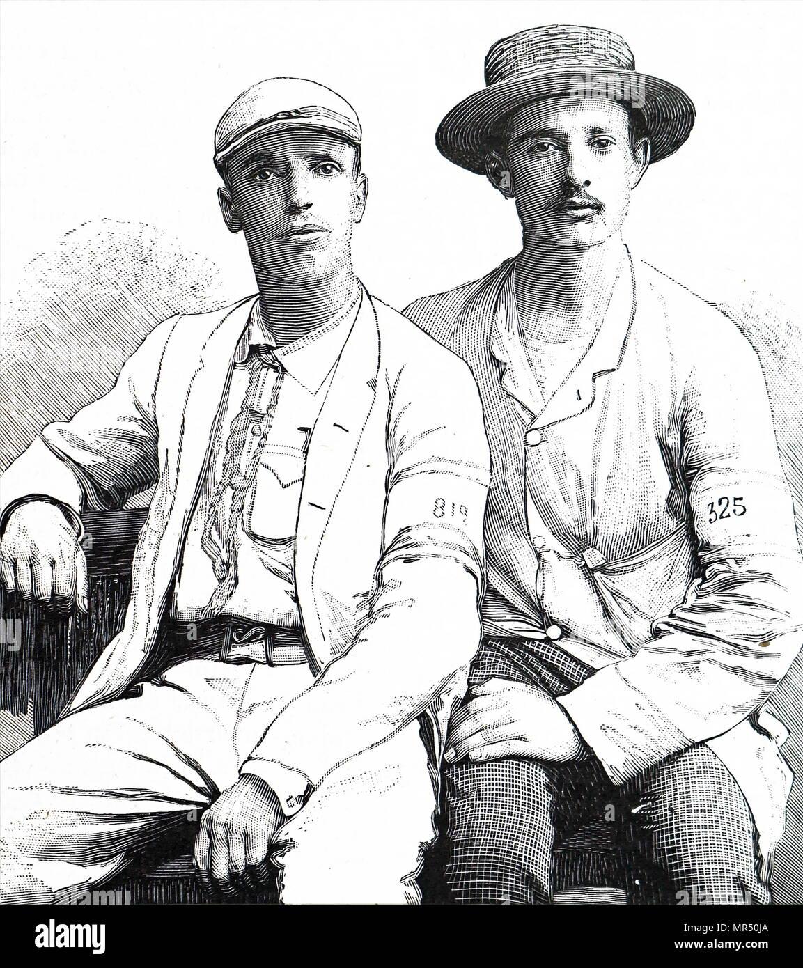 Abbildung von zwei aus dem 19. Jahrhundert, französischer Wanderer nach einer wenige Rennen. Stockbild